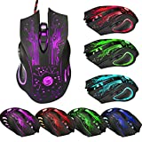 Gotd 6 Button 5500 DPI LED Optical USB Wired Gaming PRO Mouse Mice for PC Laptop (Black)