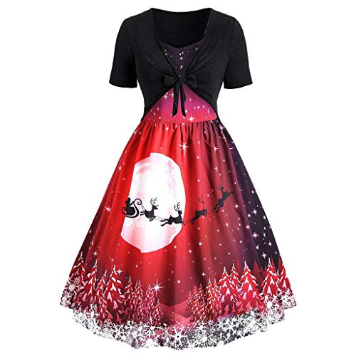 NPRADLA Damen Happy Christmas Frauen Langarm O Neck Print Vintage Kleid Party Clubbing Karneval Elegantes Kleid Rock