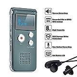 COVVY DictaphoneEnregistreurNumérique Portable Enregistreur Vocal 8GB Enregistreur Audio Lecteur MP3Dictaphone LCD (Gray)