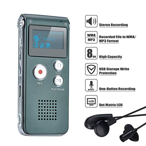 COVVY Grabadora de Voz Dictáfono LCD USB Grabadora de Voz Digital Profesional Portátil Reproductor MP3 de Larga Duración Batería Recargable-8GB (Plateado)