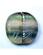 زوج متعددة القطع من حجر الفلورايت الطبيعي الوزن : 76.60 قيراط الحجم : 31.11 - 16.02 - 6.98 مم