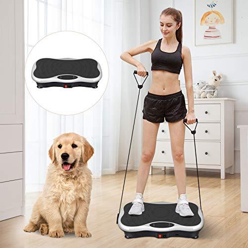 SEAAN Fitness Ultraflache Vibrationsplatte 220W Mega Fett-Verbrenner Trainingsbänder Massagegerät Rücken|Bluetooth Lautsprecher|Einfache Aufbewahrung zur Linderung von Muskelschmerzen