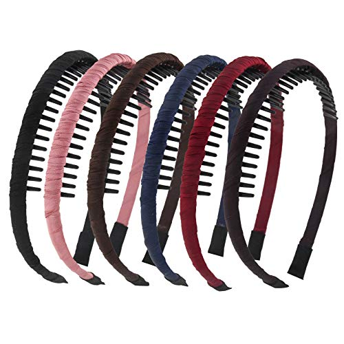 Yeshan Solid tooth headbands for Women with Plastic Non-slip Hair comb headbands Hair Hoops,Pack of 6