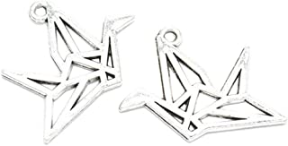 30pcs Vintage Antique Silver Origami Paper Cranes Charms Pendant Jewelry Findings for Jewelry Making Necklace Bracelet DIY 26x23mm (30pcs-A0001)