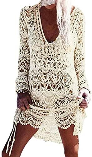 copricostume donna da mare Davicher Copricostume Mare Donna Sexy Pizzo Camicia Kaftan Tunica Donna Bikini Costumi Uncinetto Cavo Coprire Spiaggia Copricostume da Bagno Donna Bikini Cover Up