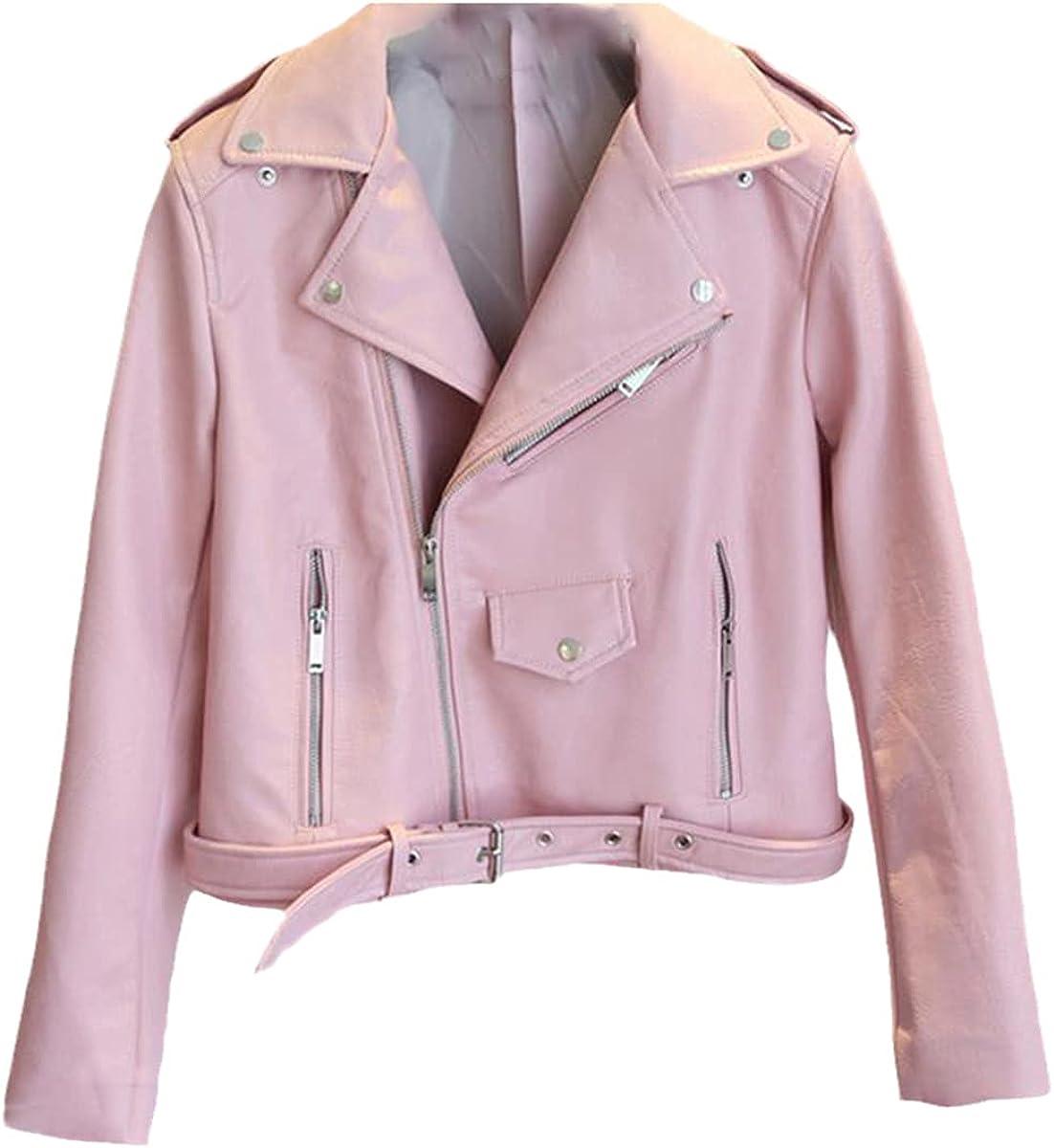 Fashion PU Leather Jacket Women Bright Color Motorcycle Jacket Short Faux Leather Motorcycle Jacket