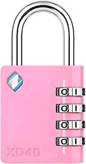 [ZARKER XD40] 4 Digit Combination Lock for Gym,Sports&Family use Locker (Pink)