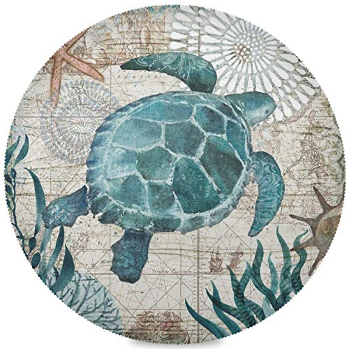 Kaariok Vintage Animal Sea Turtle Starfish Nautical Chart Round Placemats Set of 6, Washable Heat Resistant Place Mats for Dining Kitchen Table