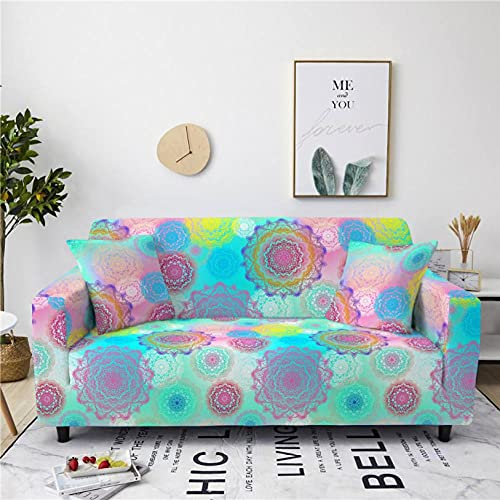 Sofa Cover Blue Wreath 4 Seater Stretch Corner Sofa Armchair Slipcover Printed Couch Cover 1-Piece Universal Anti-Slip Spandex Furniture Protector with 2 Free Pillowcase
