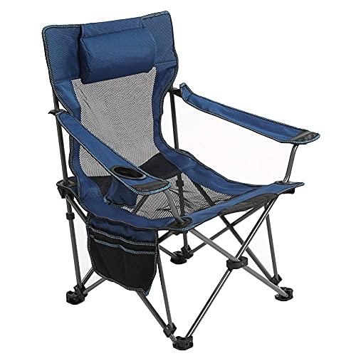 Silla de camping ultraligera portátil para playa, camping, concierto, reclinable, de malla de gran tamaño, silla de césped compacta y ajustable, silla de playa con reposabrazos - verde