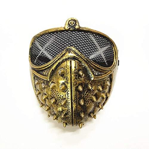XWYWP Halloween Maske Mode Cool Watch Dogs 2 Punk Stil Maske Halloween Karneval Anzieh Requisiten Erwachsene Maskerade Cosplay Maske Gold