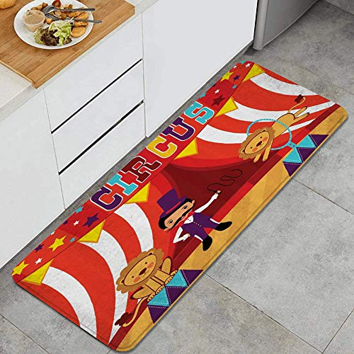 MATEKULI Tappeto da Cucina,Circo Domatore e Leone Spettacolo Circo Divertente Celebrazione Immagine Decorativa Del Partito,Microfibra Antiscivolo Tappetini da Cucina Tappeto da Bagno Zerbino Tappeti