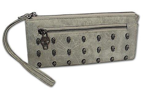 Jennifer Jones Monedero para mujer con tachuelas, diseño de calavera, gris (Gris) - 11020