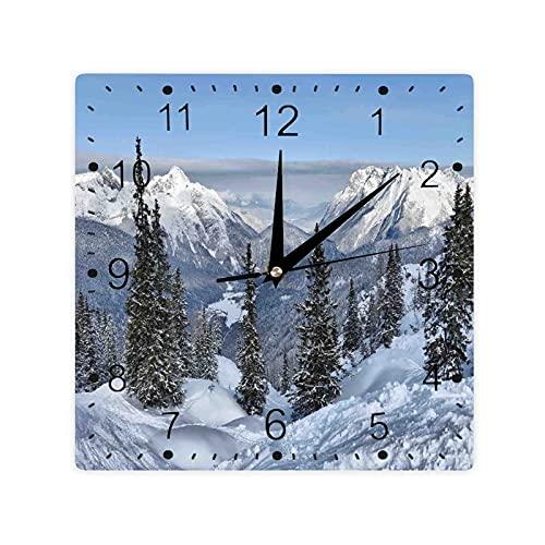 Paisaje de invierno épico con pinos nevados en Suiza Bosque Impresión Color Cuadrado Morden Reloj Slient