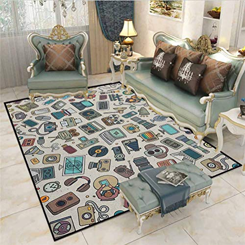 Doodle Camping Rugs for Outside Your Classroom Rugs Complation of Various Office Gadgets Recorder Tv Laptop Monitor Tablet Switch Mouse Carpets for bedrooms Multicolor 6.5 x 8 Ft