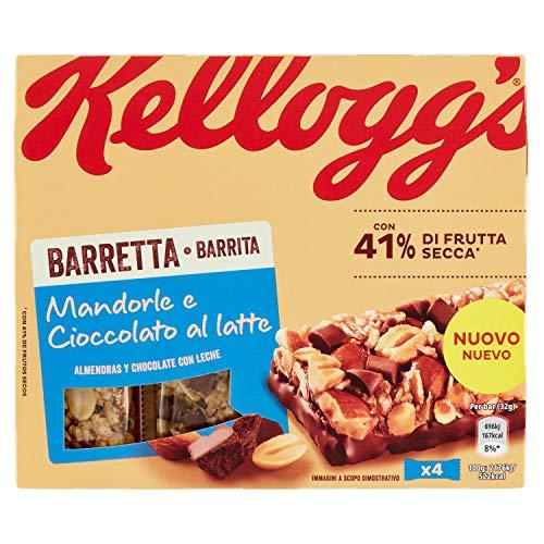 Kellogg s Barretta Mandorle e Cioccolato al Latte, 4 x 32 g