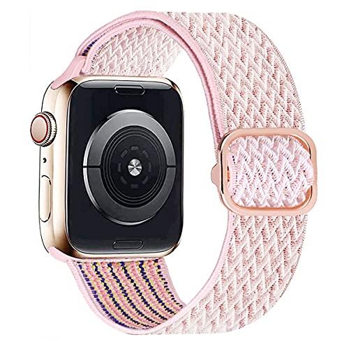 MroTech kompatibel mit Apple Watch Armband 40mm 38mm Uhrenarmband Elastic Woven Loop Ersatzarmband Sport Band Ersatz für iWatch SE Serie 6/5/4/3/2/1 Nylonarmband Nylon Stoffarmband 38/40 mm Welle Rosa
