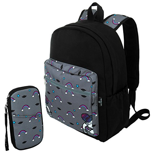 Sixteen18 Casual School 15 in Laptop Tablet Backpack and Zippered Travel Wristlet Pouch Set - Padded & Comfortable Large Commuter Daypack College Bookbag - 2-Piece Black Rainbow Set