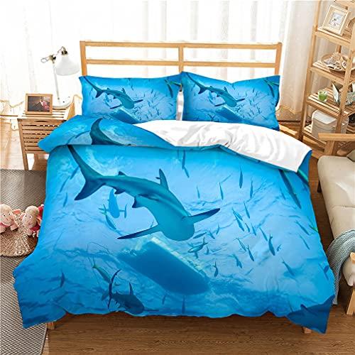 3D Azul Oceano Animal Delfín Paisaje Patrón Impresión Colorida Funda Nórdica Y Funda de Almohada 50x75 , Juego de Cama Niña Chico Funda Nórdica (Flor 2, 200x220 cm - Cama 135 cm)
