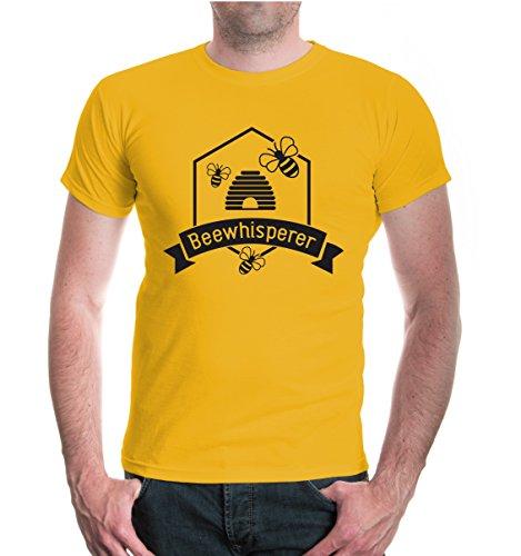 buXsbaum Herren T-Shirt Beewhisperer | Bienenflüsterer Imker Biene Bienenzüchter | XL, Gelb