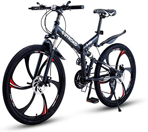 PanAme Folding Mountain Bikes, 21 Speed Shining SYS Double Disc Brake, Full Suspension 6-Spoke 26...