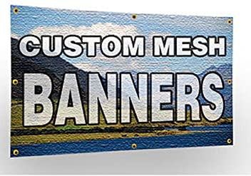 CGSignLab Basic Black Wind-Resistant Outdoor Mesh Vinyl Banner for Rent 12x3