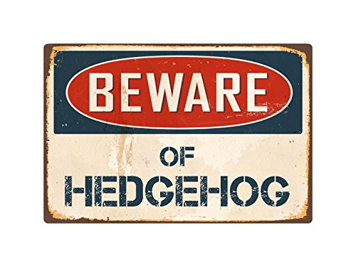 "Beware of Hedgehog 8"" x 12"" Vintage Metal Sign"