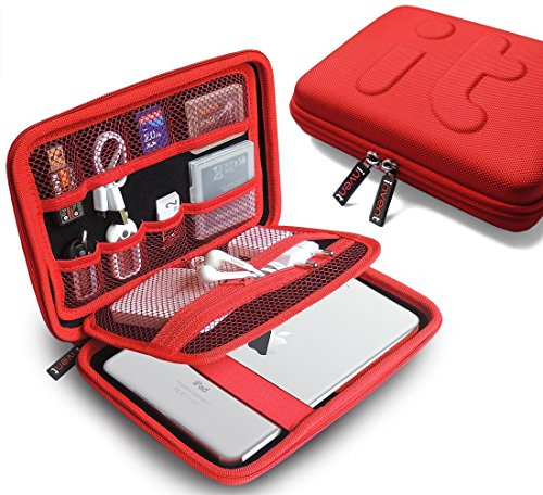 Universal Travel Organizer/Electronics Accessories Case/iPad Mini, Galaxy Tab Case/Portable EVA Hard Drive Case/Cable Organiser/Power Bank Case/USB Pouch/Cable Stable/Waterproof Bag (Large)