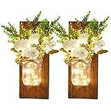 Lewondr 2PZS Lámparas Decorativas de Pared en Tarros de Flores, Apliques en Frascos de Albañil para Adornar su Hogar Jardín Dormitorio, con Control Remoto y Luces LED de Hadas, Multicolor