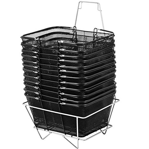 Mophorn 12PCS Shopping Baskets with Handles, Black Metal Shopping Basket, Portable Wire Shopping Basket, Black Wire Mesh shopping Basket Set for Stores Shopping