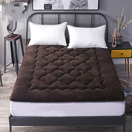 JGFJLO Colchón de Tatami futon Plegable, Colchón Protector de Cama de Franela Primeros del colchón para hogar Camas apartamento Estudiante-marrón 100x200cm(39x79inch)