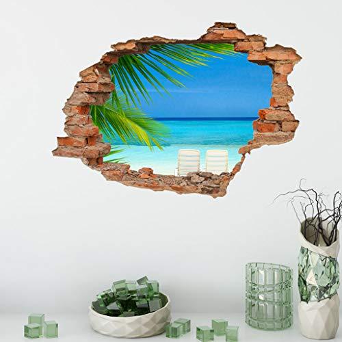 Wandtattoo Wandaufkleber 3D-Fenster-Ansicht Delphin Unterwasserwelt Delfine Marine Meer Wandbild Wohnzimmer Schlafzimmer Kinderzimmer Deko Badzimmer 50 cm x 70 cm (A)