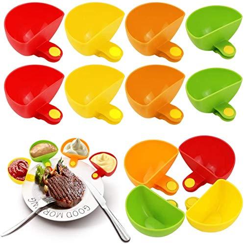 Tenedor de la placa del cuenco del clip de la inmersión, cuenco del envase de la inmersión de las especias del sabor del azúcar del vinagre de la sal de la salsa de tomate (12Pcs)