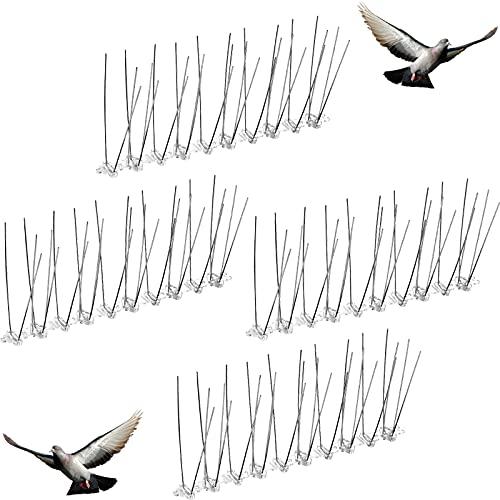 Patelai Edelstahl Vogel Spikes Anti Tauben Abschreckung Kit Vogel Spikes Anti Klettern Sicherheit Wand Zaun vom Dach Entfernt Fensterbank Abschreckung für Vögel Krähen und Spechte (4 Stücke)