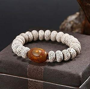 Fengshui Schutz Tibetan Evil Eye Dzi Beads Brown Agate Stern-Mond Pipal Baum-Samen Reichtum buddhistischer Armband für Männer Frauen Amulett Talisman Armband Attract Geld Good Luck