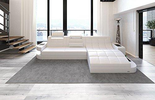 Sofa Dreams Divano in pelle Wave a FORMA di L Bianco Bianco