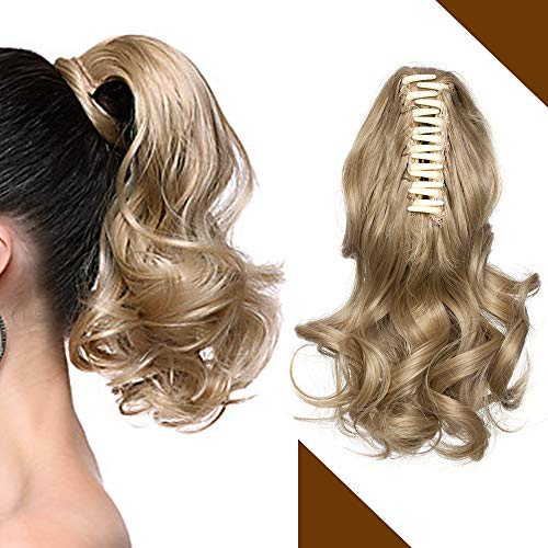 Clip in Ponytail Extension Zopf Haarteil wie Echthaar Günstig Pferdeschwanz Haarverlängerung mit Butterfly-Klammer Gewellt 110g 12