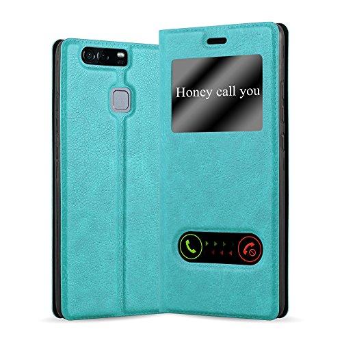 Cadorabo Funda Libro para Huawei P9 en Turquesa Menta - Cubierta Proteccíon con Cierre Magnético, Función de Suporte y 2 Ventanas- Etui Case Cover Carcasa