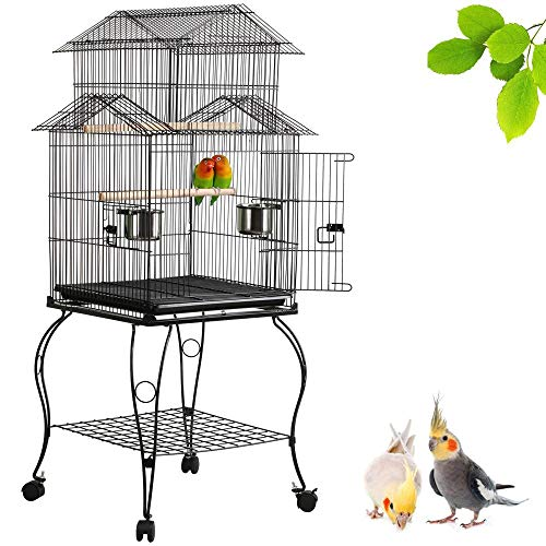 Yaheetech 55-inch Rolling Standing Triple Roof Top Medium Parrot Cage for Mid-Sized Parrots...