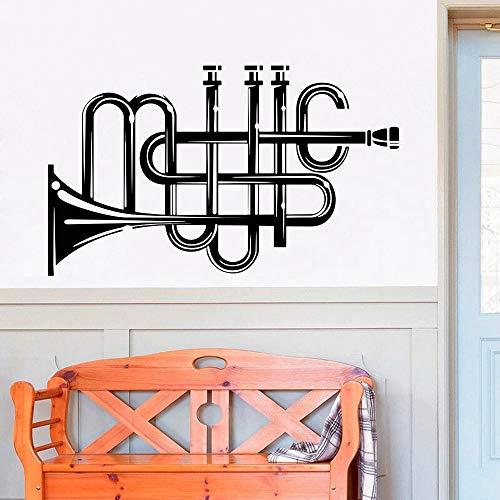 HGFDHG Trompete Wandaufkleber Musikinstrument Hauptdekoration Schulmusik Lektion Vinyl Wohnzimmer Wandtattoo Dekoration