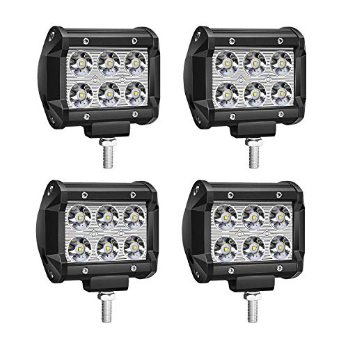 TURBO SII 4Pcs 4Inch 18W LED Pods Work Light Spot Beam Super Bright Offroad Driving Fog Lights Waterproof IP67 LED Cubes for Truck Boat ATV UTV