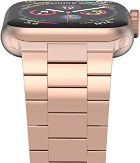 iiteeology Compatible with Rose Gold Apple Watch Band 40mm 38mm, Upgraded Version Solid Slim Metal iWatch Strap for Apple Watch Series 5/4/3 Rose Gold Women