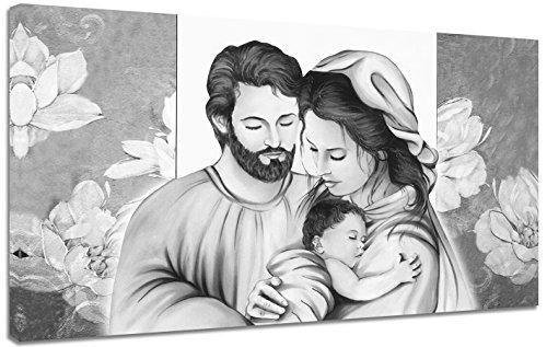 Punto Digital Quadro Capezzale Sacra Famiglia C b/n cm.120x60 Moderno Intelaiato Stampa su Tela Cotone Telaio in Legno Spesso cm.2
