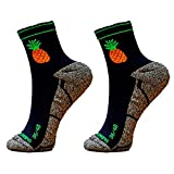 HOOPOE Pack Calcetines Trail Running Pineapple, 2 Pares, Hombres, Mujer, Divertidos, sin Costuras, Térmicos, Pineapple, Talla 41-45