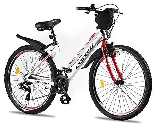 Corelli Luna Mountainbike mit Aluminium-Rahmen, V-Brake, Shimano 21 Gang-Schaltung als Damen-Fahrrad, Mädchen-Fahrrad, Kinder-Fahrrad in weiß/rot