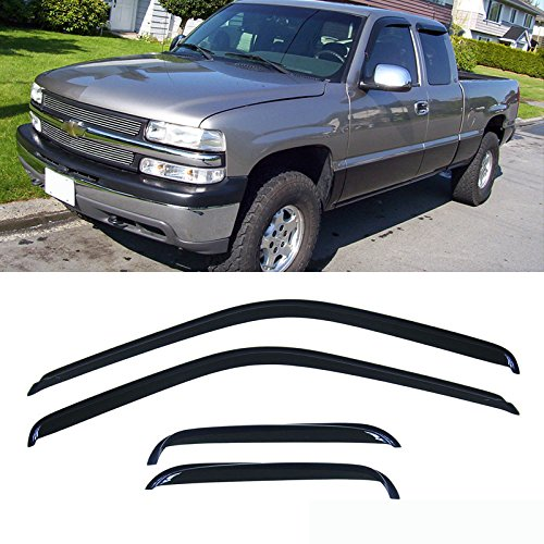 VioletLisa 4pcs Dark Smoke Outside Mount Style Sun Rain Guard Vent Shade Window Visors for 88-00 Chevy/GMC C1500/C2500/C3500/K1500/K2500/K3500 Extended Cab Pickup with Half Size Rear Doors Only