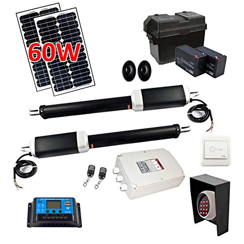 ALEKO GG1700GLD Full Swing Gate Operator Kit with Solar Power for Dual Gates Up to 1700-lb