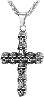 Men Personalized Silver Black Gothic Skull Necklace Stainless Steel /18K Gold/Black Leather Chain Pendant, 20 Inch to 26 Inch