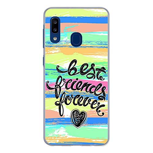 BJJ SHOP Funda Transparente para [ Samsung Galaxy A20e ], Carcasa de Silicona Flexible TPU, diseño: Amistad, Best Friend Forever Abstracto