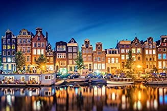 Netherlands Houses Rivers Amsterdam Noord-Holland Night (P-001642) - Poster Art Print on Canvas (36x24inch)